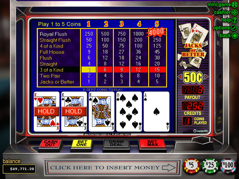 free online video poker jacks or better